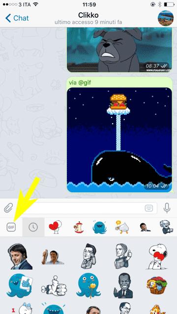 Come inviare gif animate con Telegram su iPhone