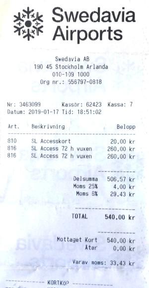 Stoccolma - Abbonamento di 72 ore per metro, bus, tram, treni