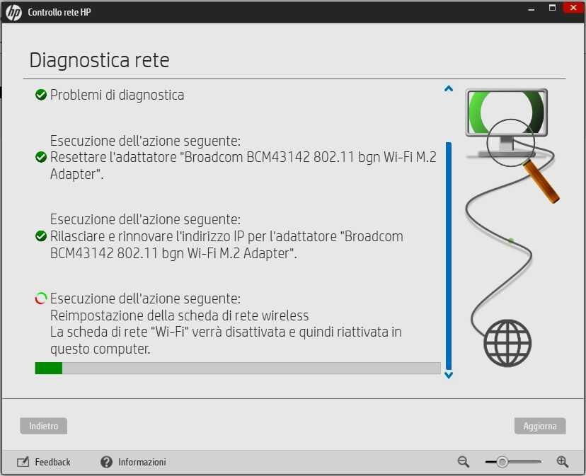 HP Support Assistant - Schermata Controllo rete HP ripristino scheda wireless Broadcom BCM43142