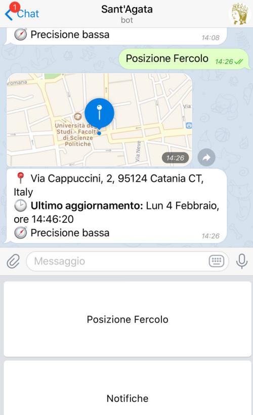 Dove si trova esattamente il fercolo di Sant'Agata in processione? (Bot per Telegram)