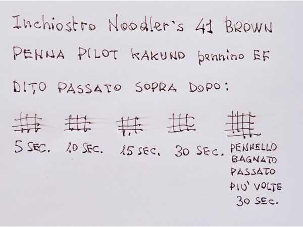 Test tempo di asciugatura e impermeabilita inchiostro penna stilografica Noodler 41 Brown