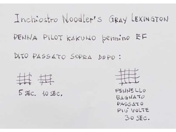 Test tempo di asciugatura e impermeabilita inchiostro penna stilografica Noodler grigio Lexington